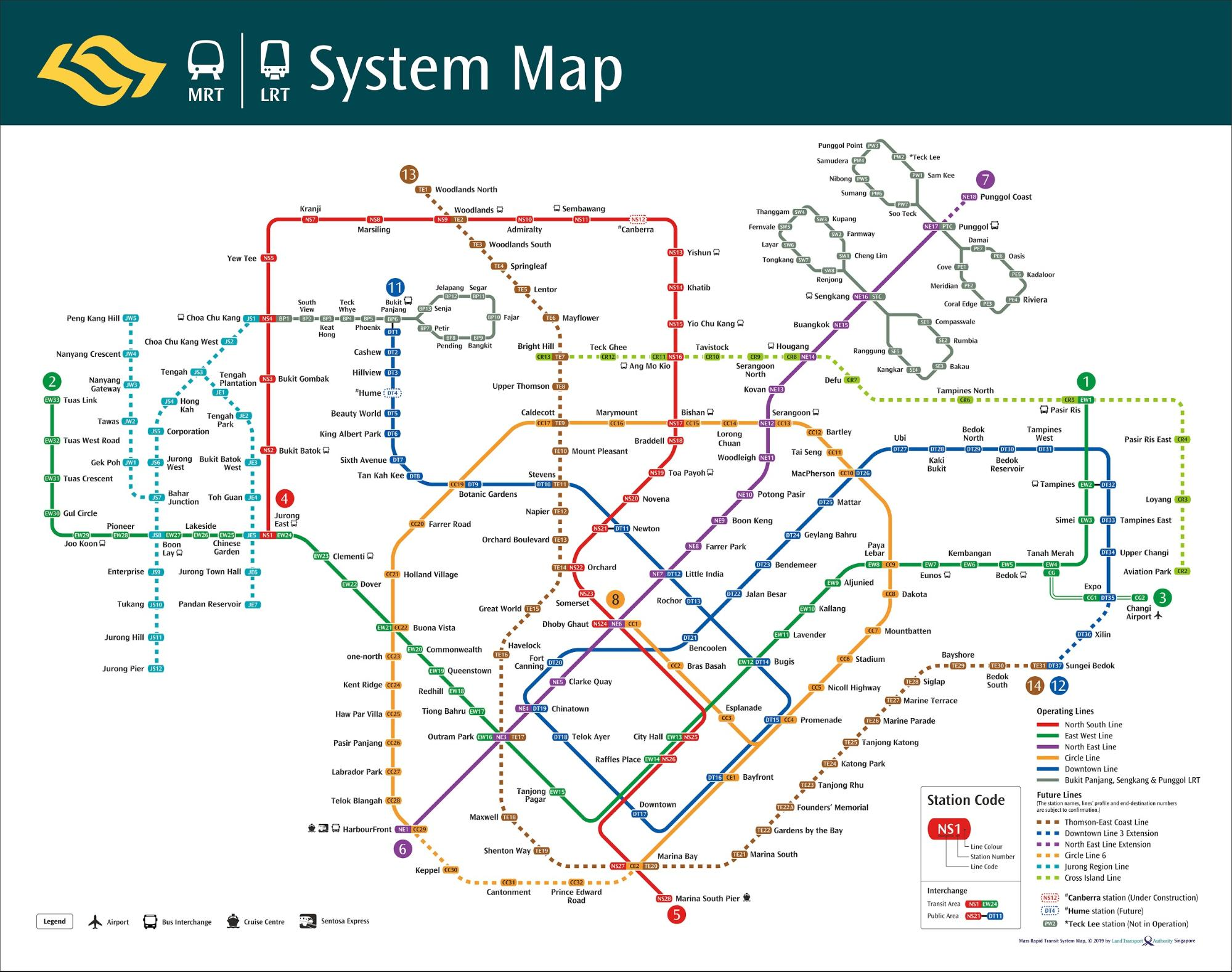 backpacking in singapore - MRT map