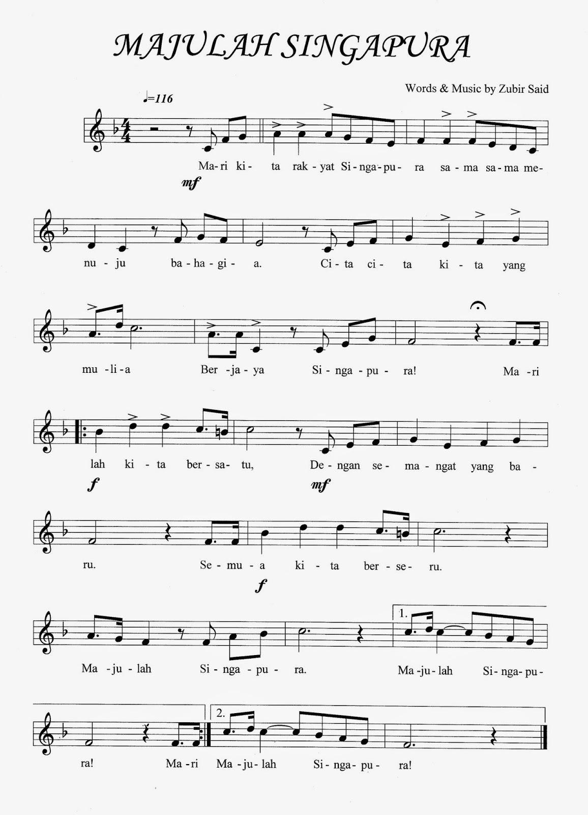 malay words - majulah singapura lyrics