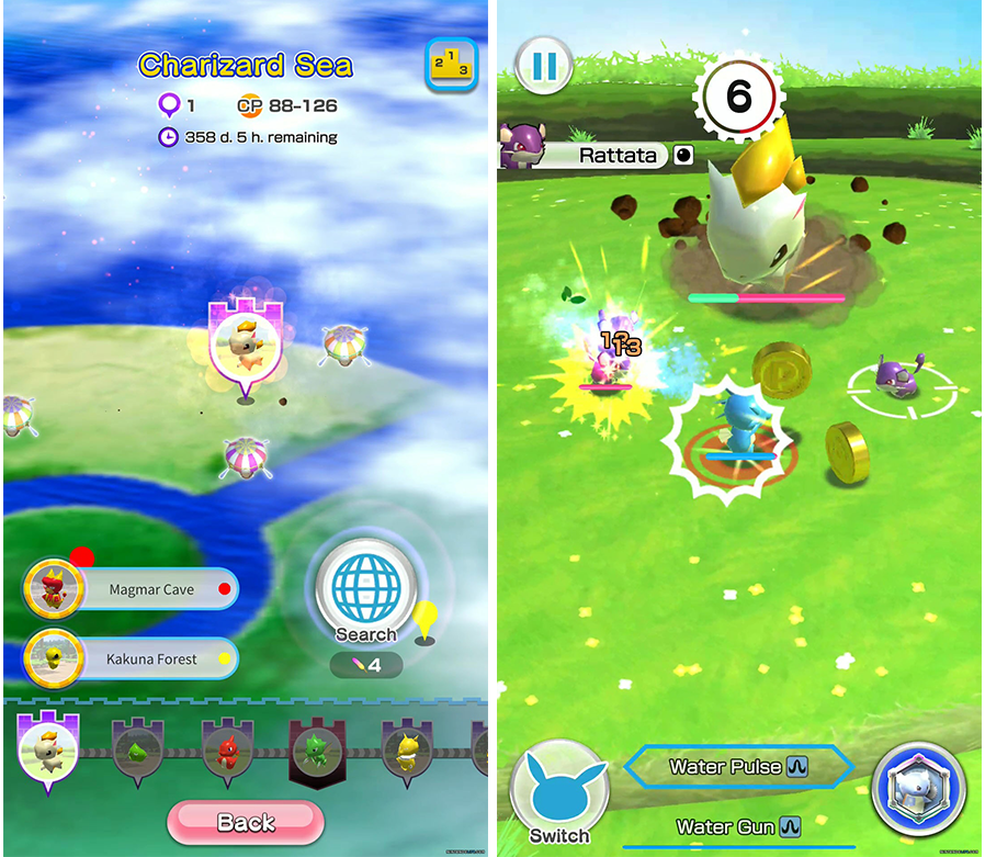 New Mobile Games - screenshots of Pokemon Rumble Rush gameplay