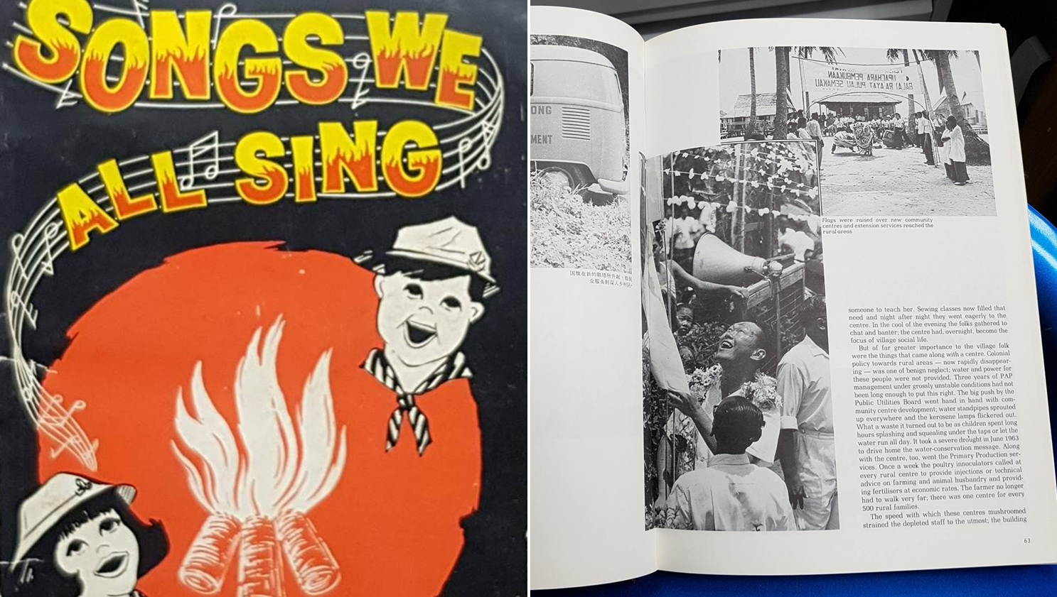 Secondhand Bookstores -collage of book on camp fire songs and Singapore's history