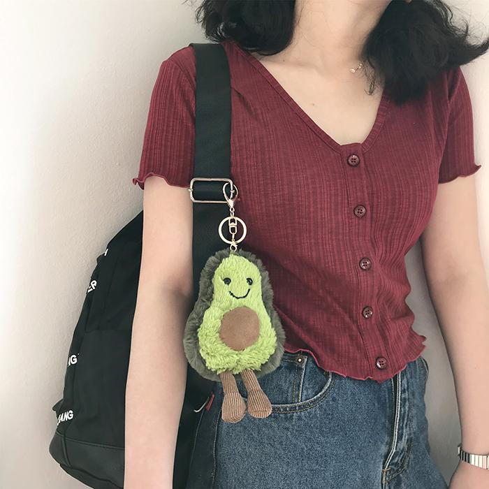 avocado plushie keychain