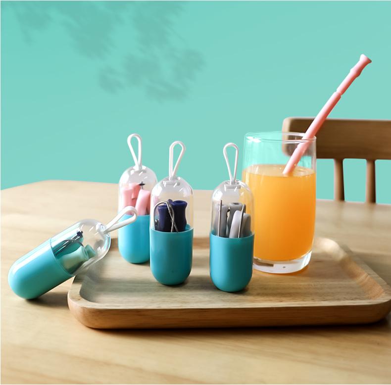 silicone foldable straws