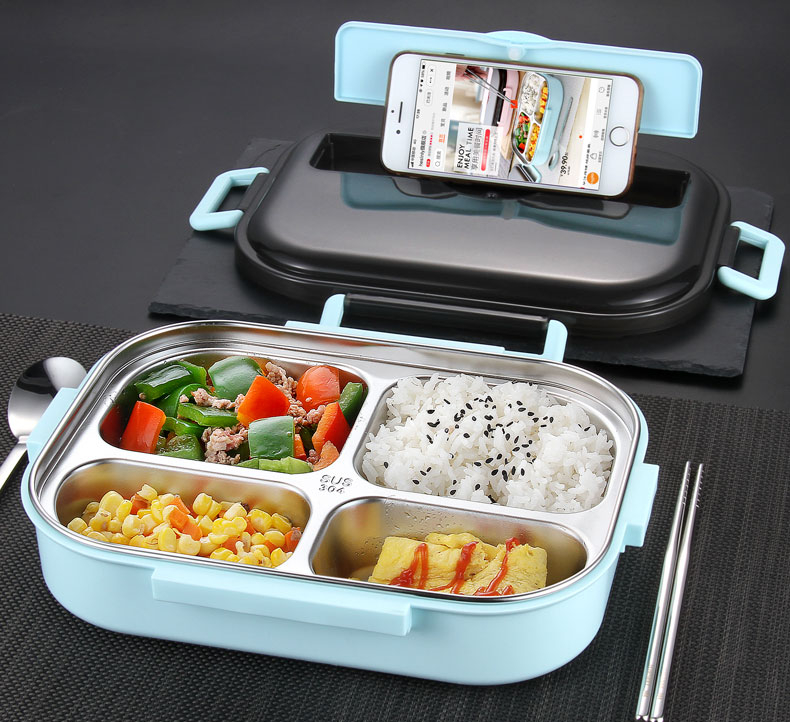 lunch box with partition and phone stand