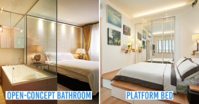 hdb renovation - open concept bathroom and platform bed