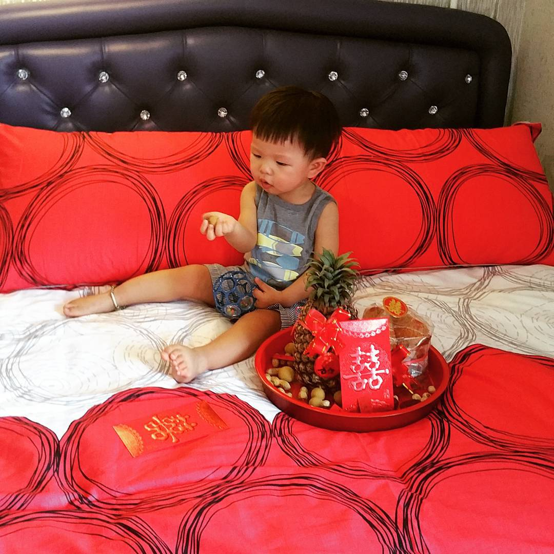 kid on new bed