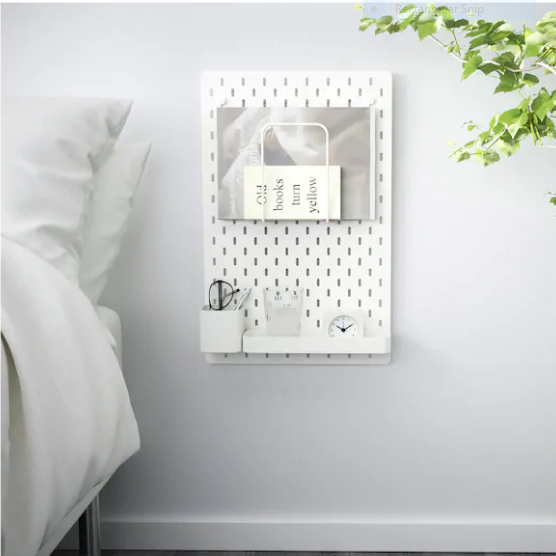 Smart Storage Pegboard bedside shelf