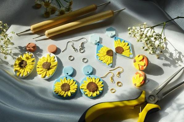 sunflower earrings vinreh