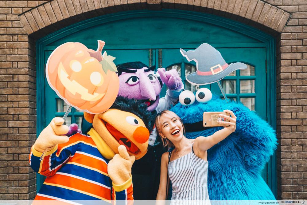 Sesame Street characters at the Halloween Meet & Greet