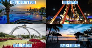 danga bay in jb - collage of infinity pool, theme park, royal garden, beach sunset