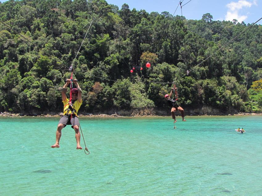 kota kinabalu resorts and hotels - coral flyer zipline gaya island to sapi island