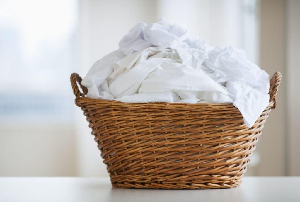 laundry tips - basket of white laundry