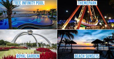 danga bay in jb - collage of infinity pool, theme park, royal garden, beach sunset