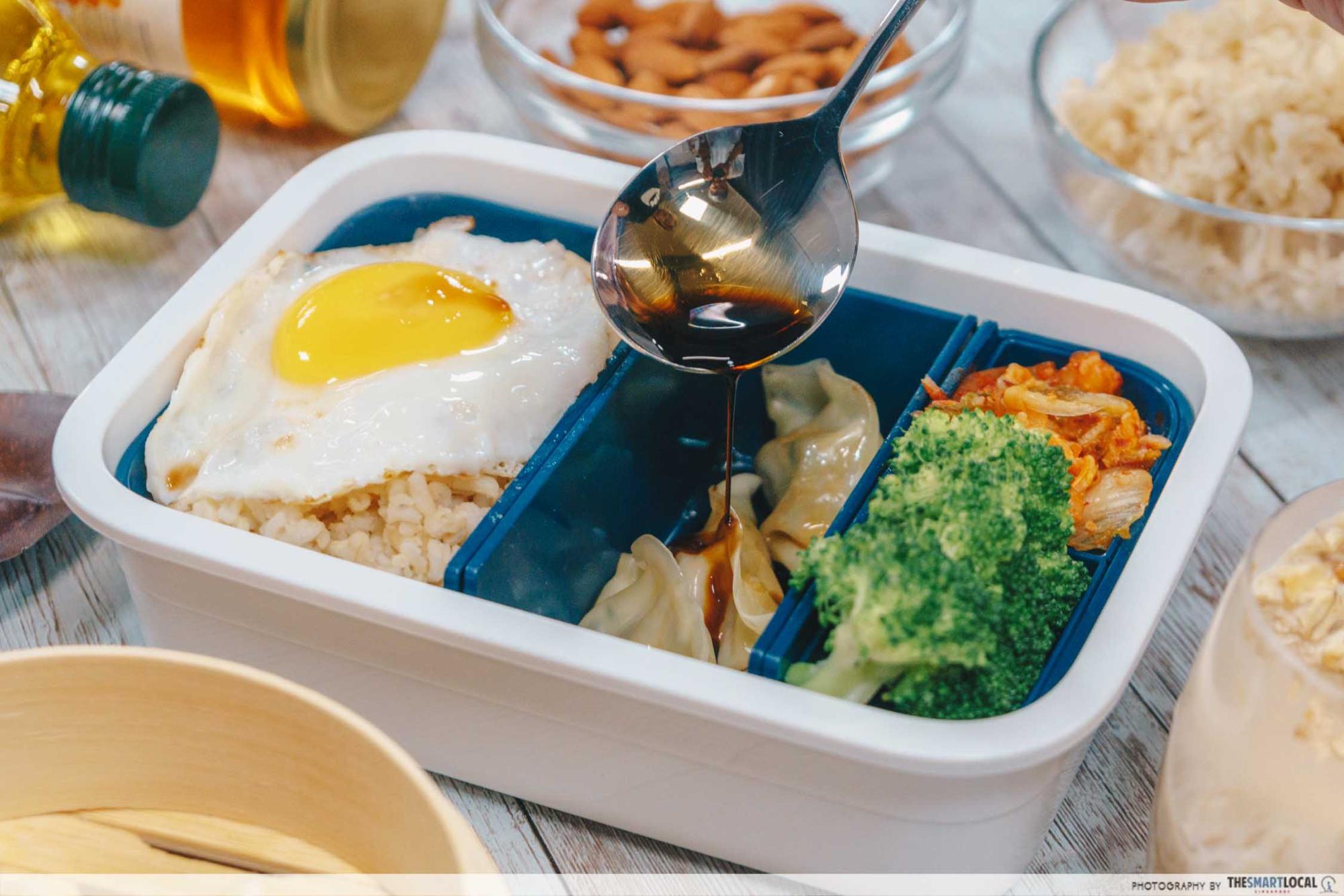 FairPrice Korean bento box chive dumplings