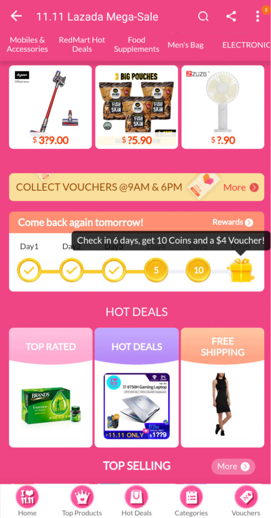 Lazada 11.11 sale Daily check in