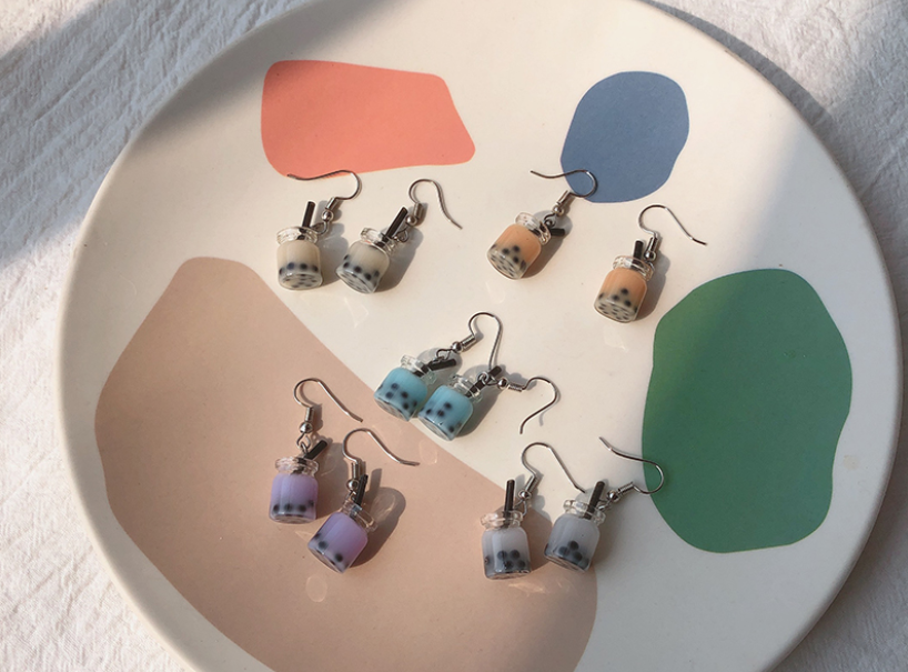 bubble tea earrings