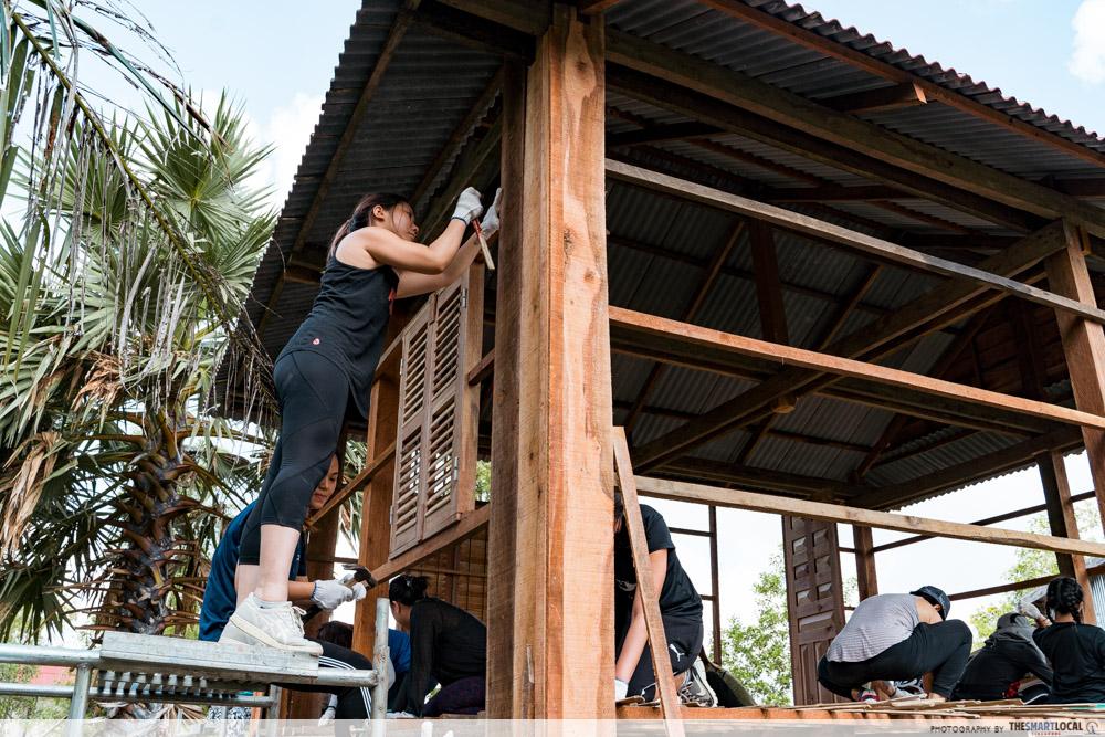 cambodia house charity scaffolding