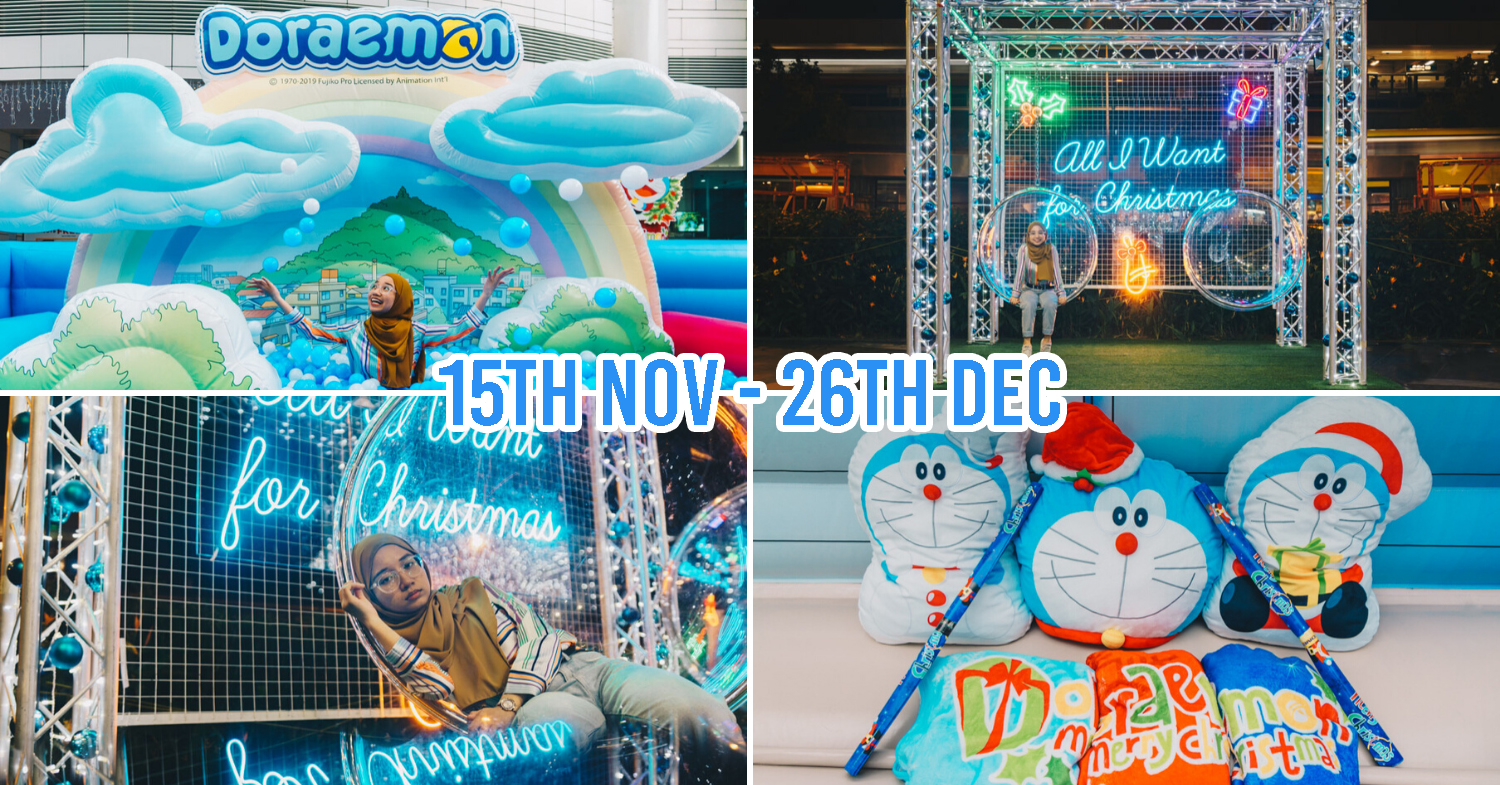 doraemon pop-up at amk hub and jurong point - collage of ball pit, photo spots, merch