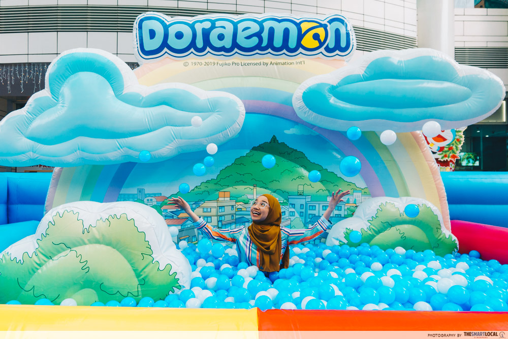 doraemon pop-up at amk hub and jurong point - inflatable play land ball pit