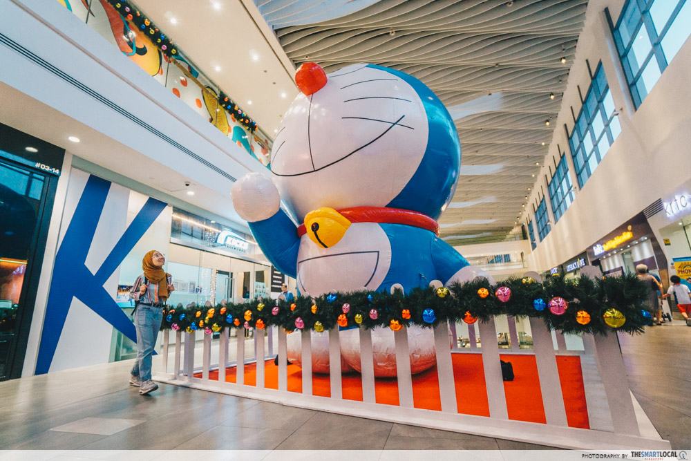 doraemon pop-up at amk hub and jurong point - 4 metre tall doraemon inflatable