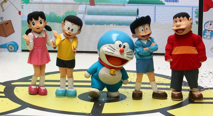 doraemon pop-up at amk hub and jurong point - doraemon and friends performing live