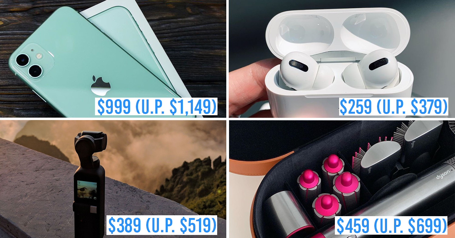 ezbuy 11.11 sale - collage of iphone 11, airpods pro, dyson air wrap, dji osmo pocket gimbal