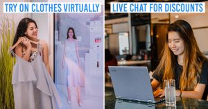 guide to online shopping - collage of virtually trying out clothes and live chatting