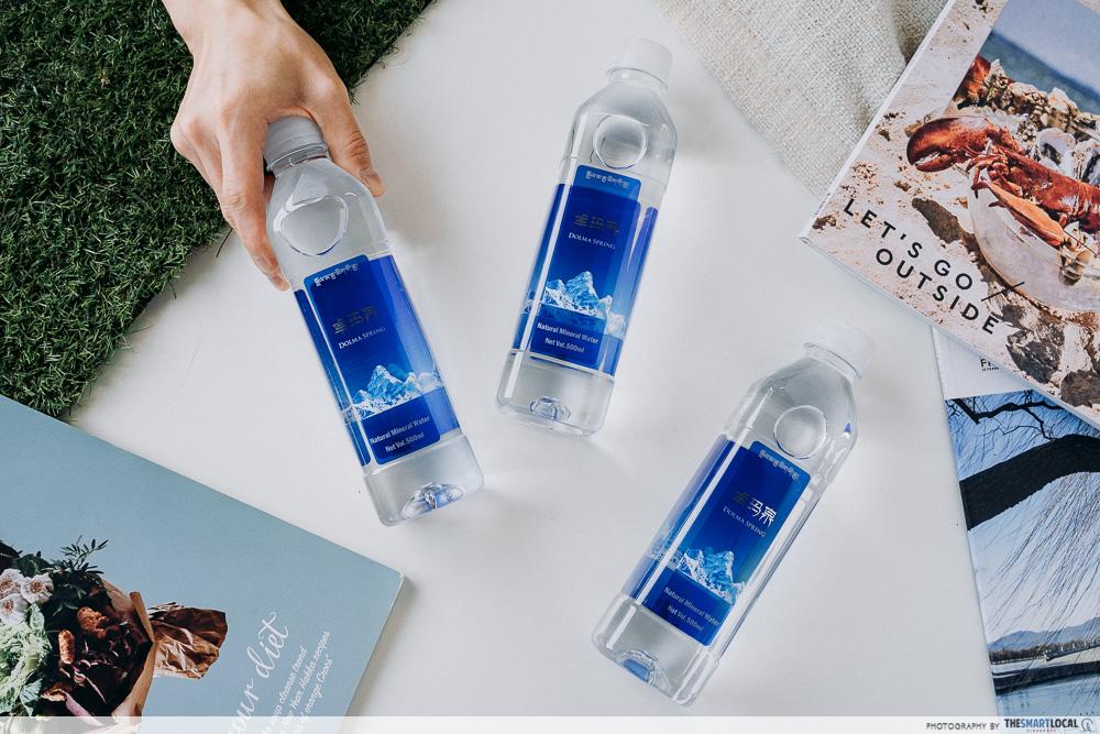 bottled water flatlay