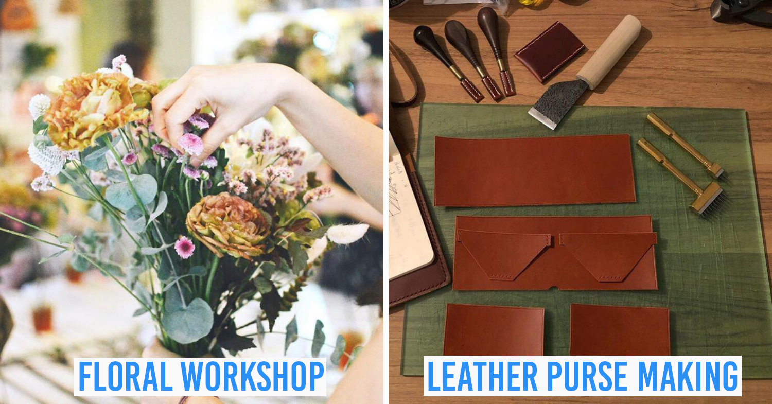 learning neighbourhood at geylang serai - collage of floral workshop and leather purse making