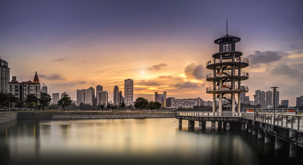 sunrise and sunset in singapore - tanjong rhu lookout tower