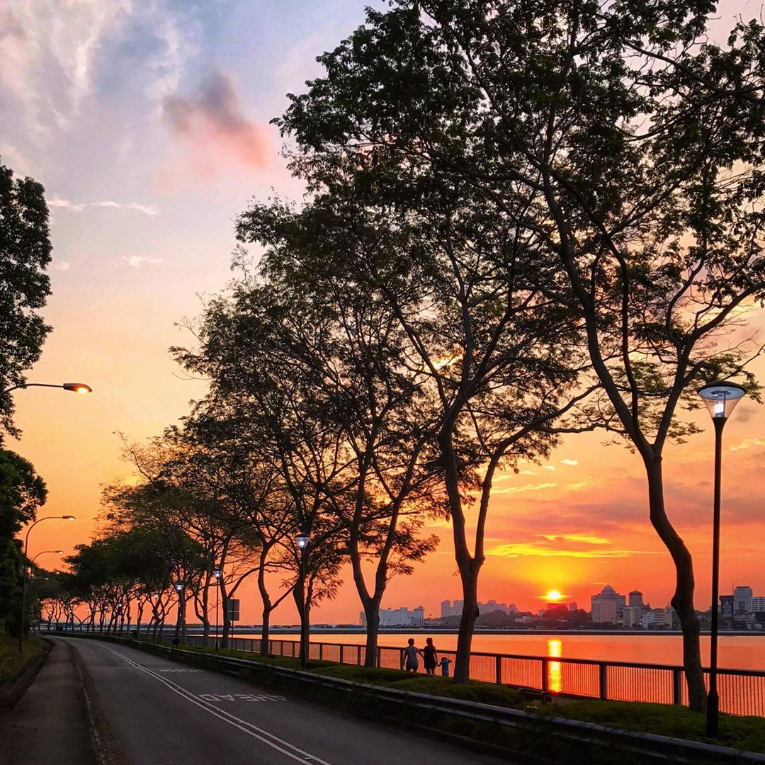 sunrise and sunset in singapore - woodlands waterfront park