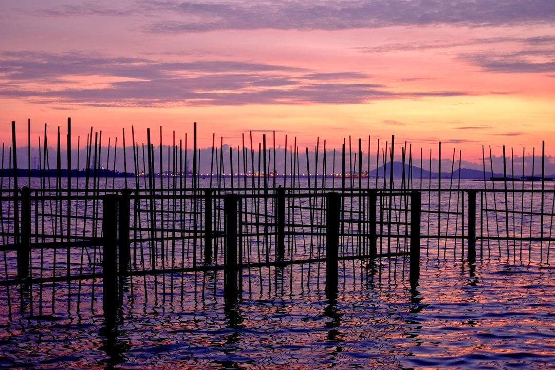 sunrise and sunset in singapore - pulau ubin