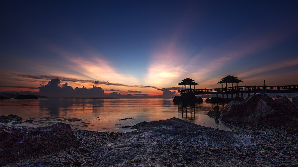 sunrise and sunset in singapore - pulau ubin