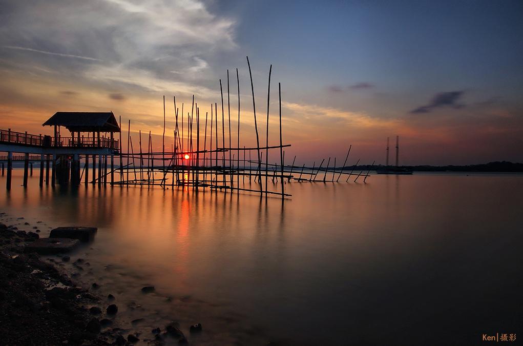 sunrise and sunset in singapore - changi boardwalk kelong walk