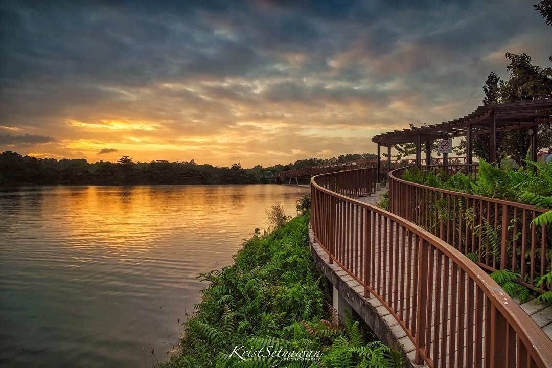 sunrise and sunset in singapore - punggol waterway park
