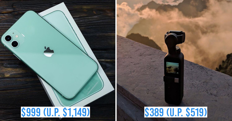 ezbuy 11.11 sale - collage of iphone 11 and dji osmo pocket gimbal