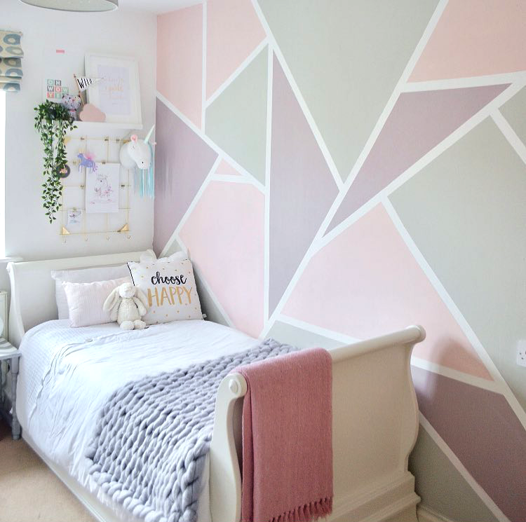 Paint Feature Wall Geometric Mural Pastel