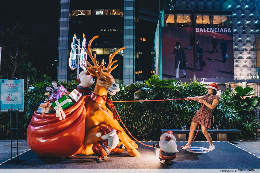 Orchard Road Christmas Village 2019 Rudolph Sleigh Statue