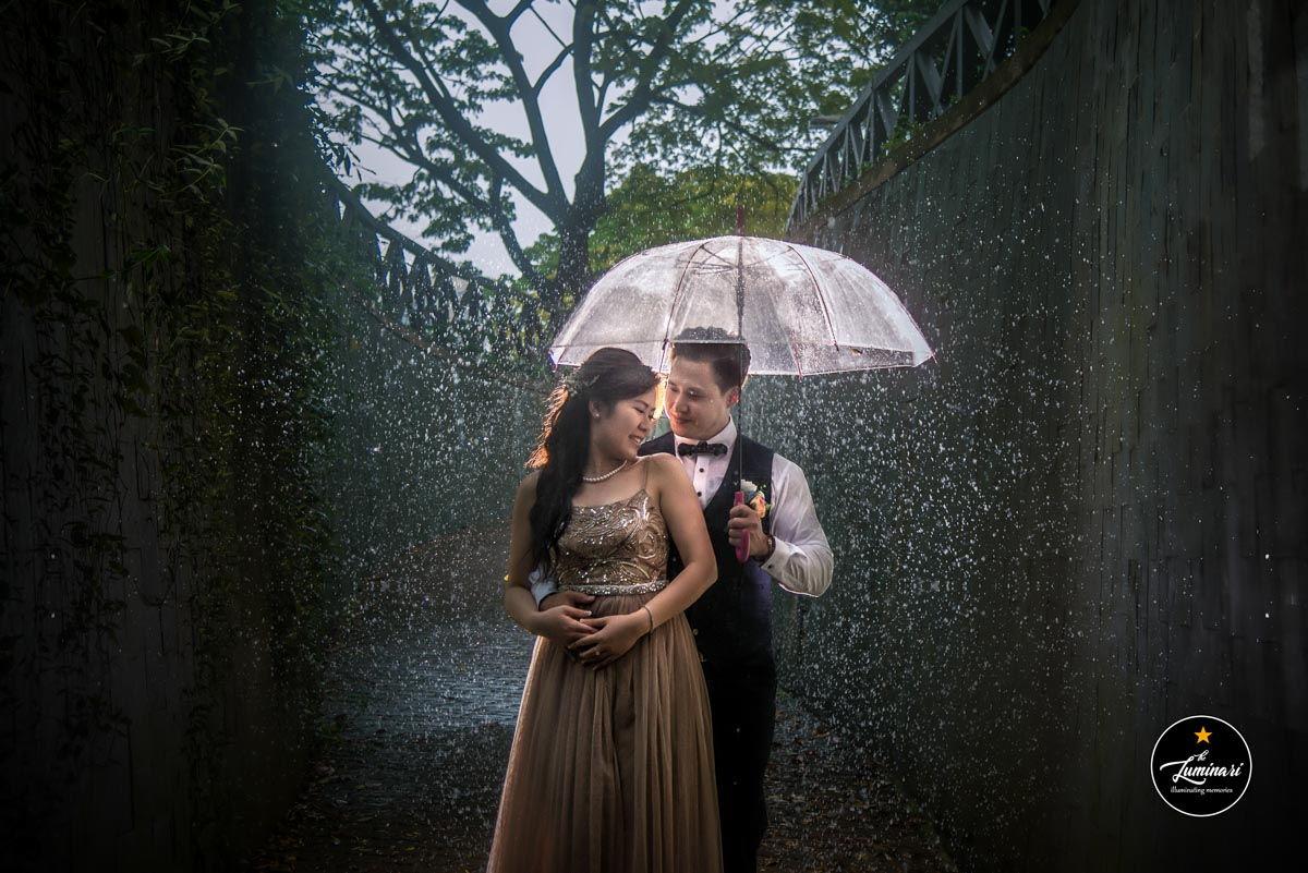 Transparent umbrella wedding photoshoot raining