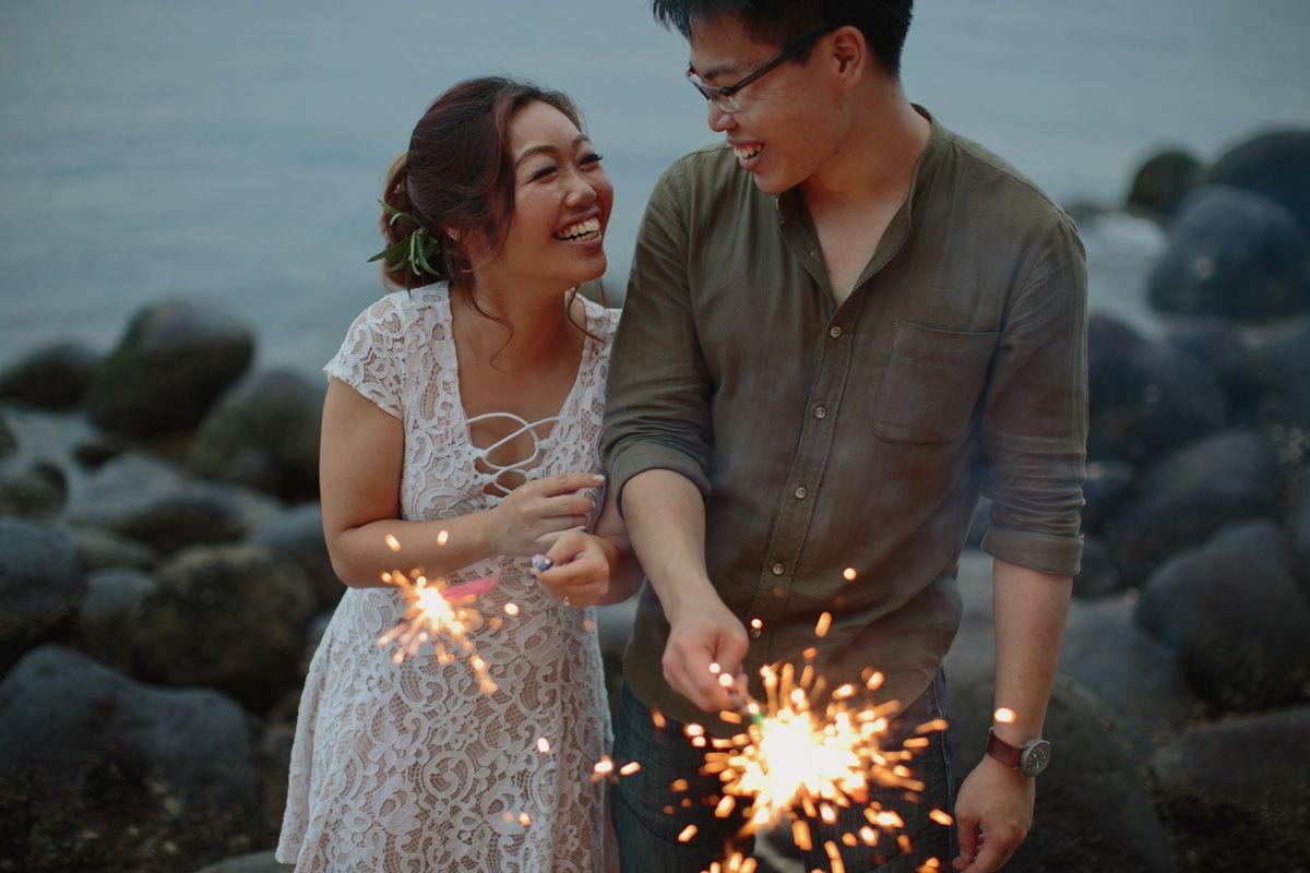 Pre-wedding photoshoot sparklers