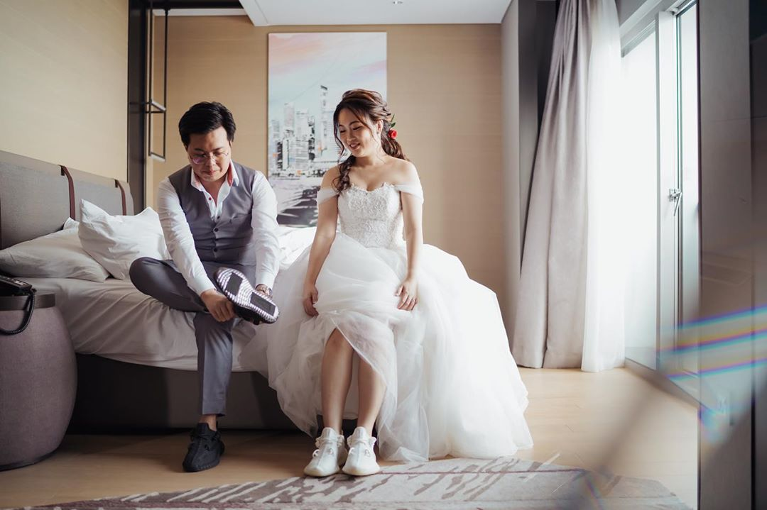 Wedding gown with sneakers
