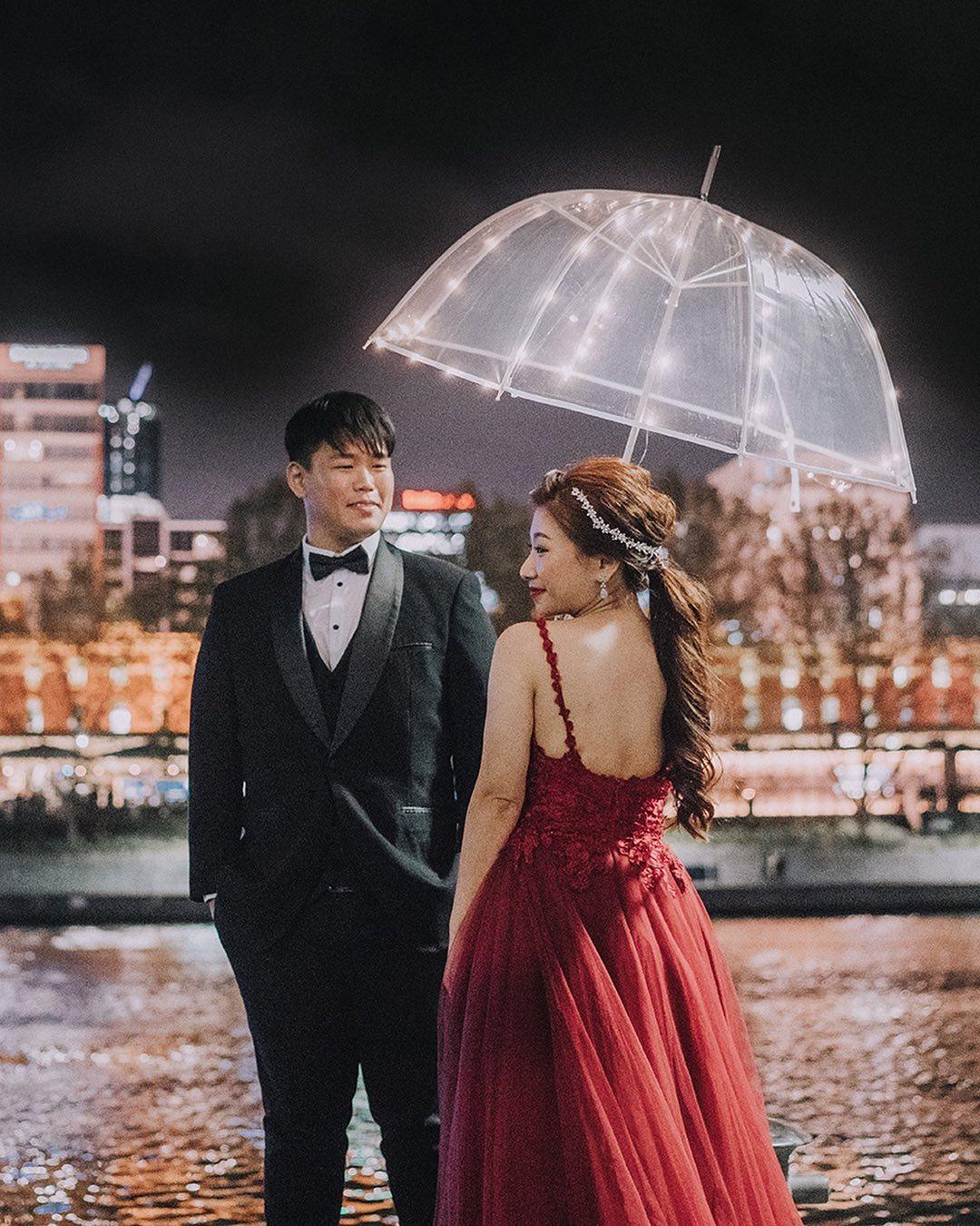 Umbrella fairy lights wedding photoshoot