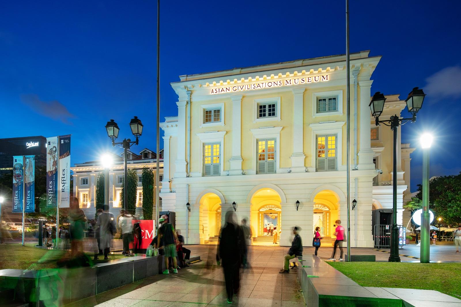 asian civilisations museum facade at night