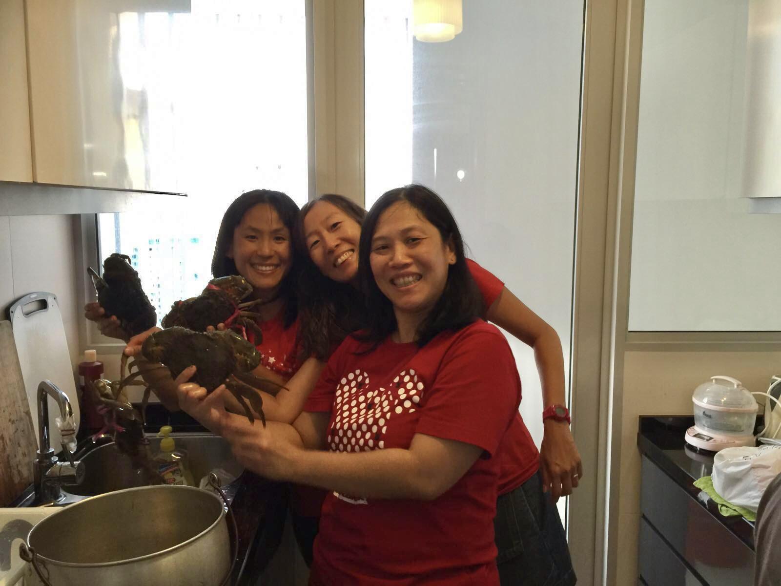 ladies cooking in kitchen