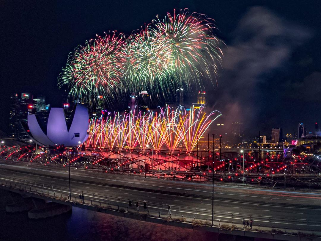 fireworks seen from benjamin sheares bridge in singapore