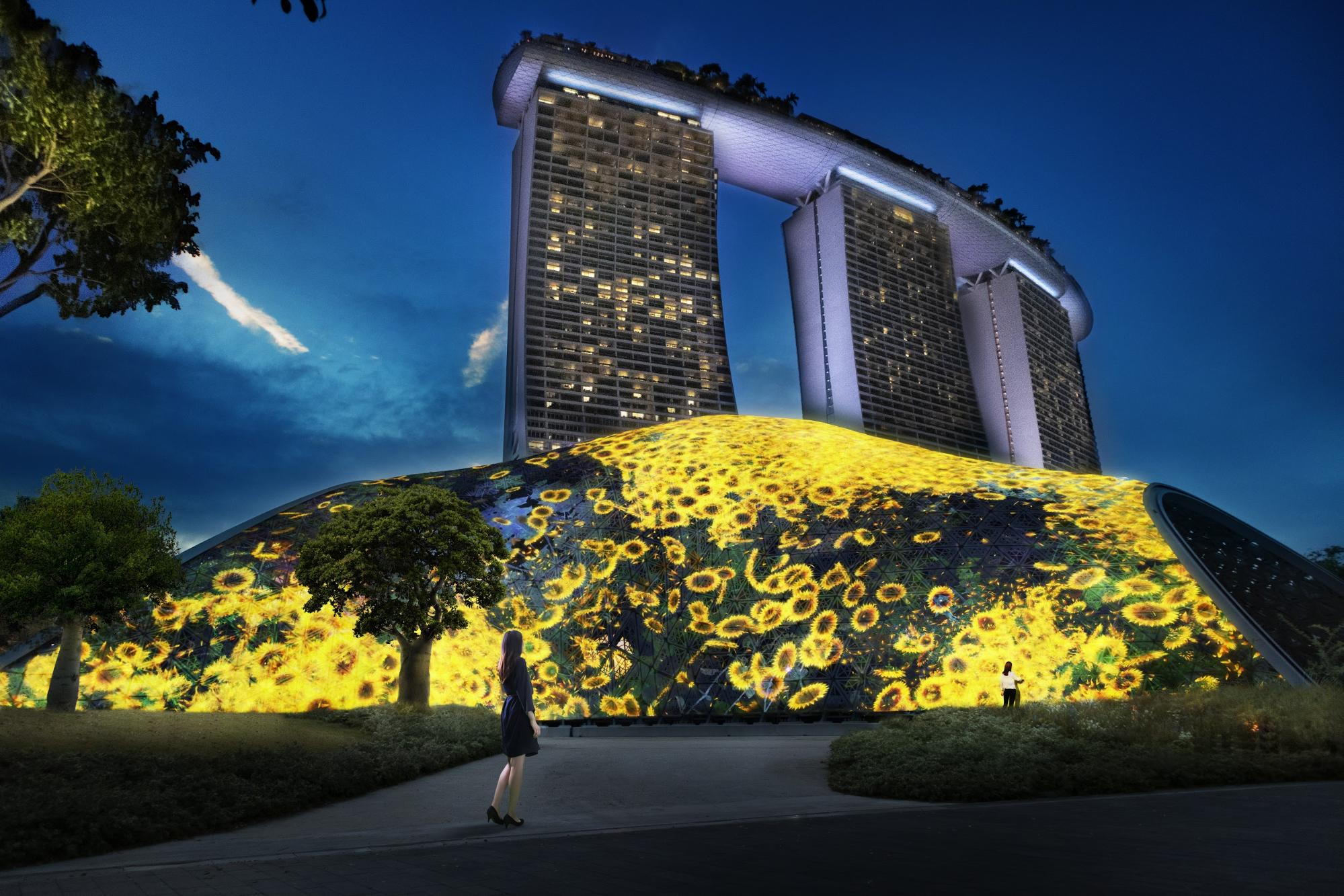flowers and people giant lattice mass by mediacorp