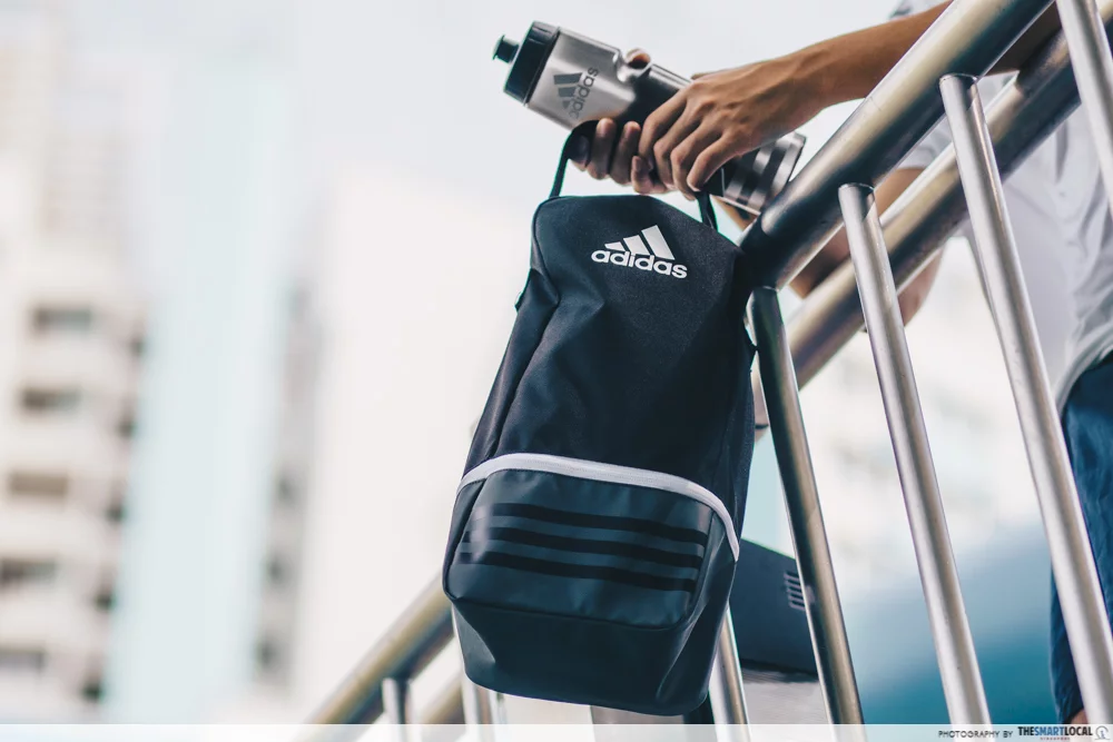 adidas bag and water bottle