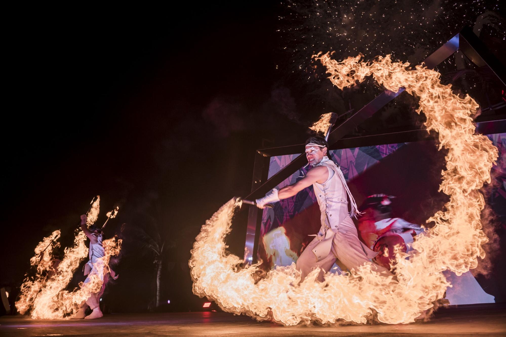 fire twirling star island