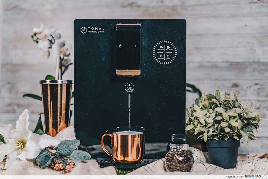 tomal freshdew water dispenser - black with gold mug