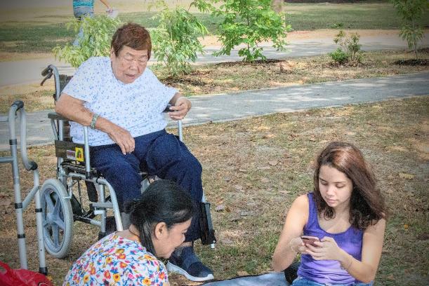 bringing elderly outdoors