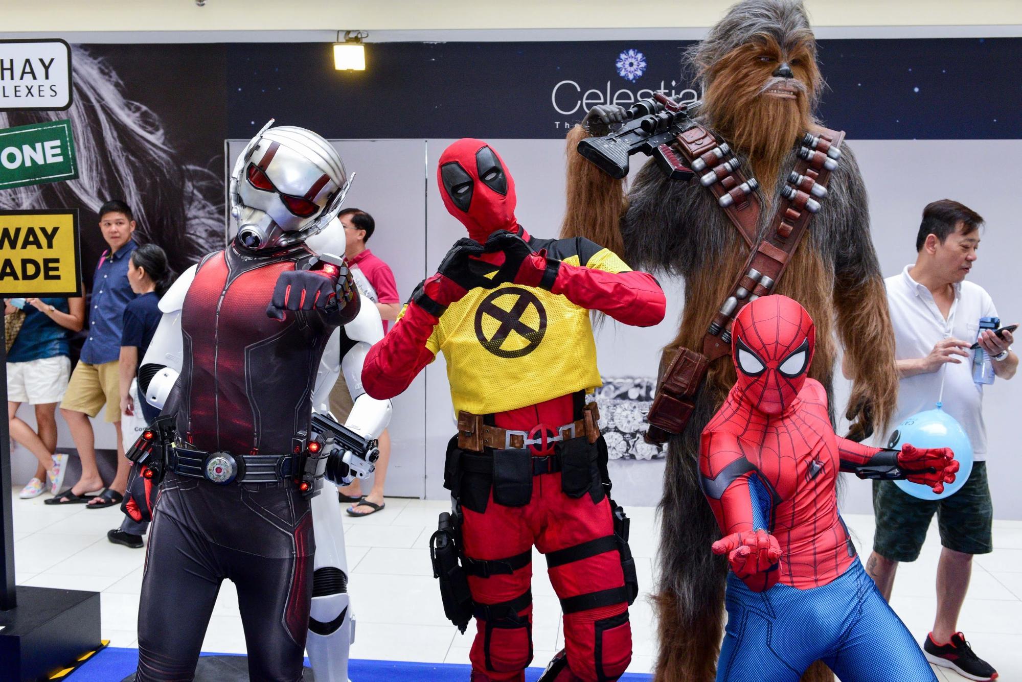cathay cineplex amk hub - movie cosplay of deadpool, chewbacca, spiderman, antman